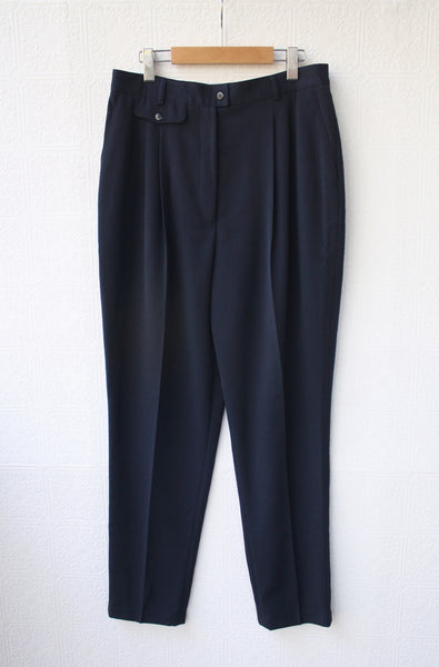Navy High Waisted Twill Trouser (Tall)
