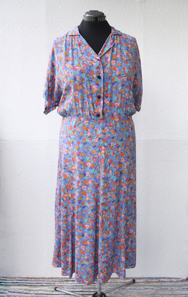 Seasonless Floral Midi Secretary Dress