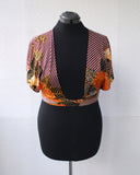 70s Stripe and Floral Wrap Top