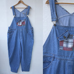 Denim Overalls with Plaid Details