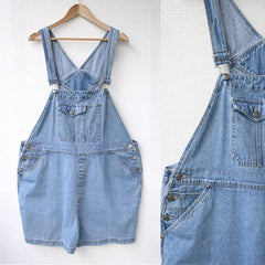 Stone Washed Overall Shorts
