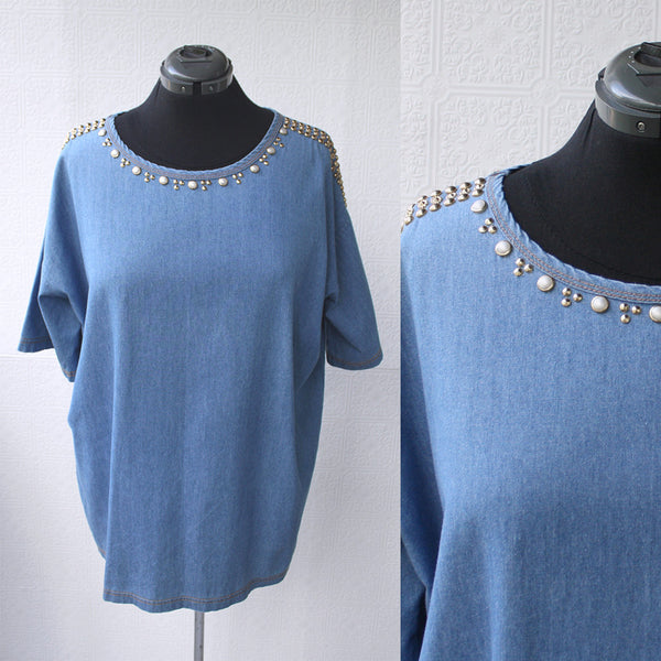Studded Denim Tunic Mini Dress