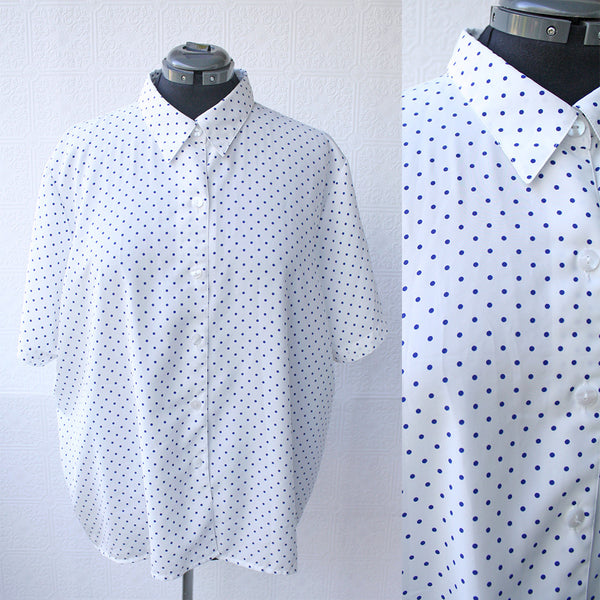 White and Navy Polka dot Blouse