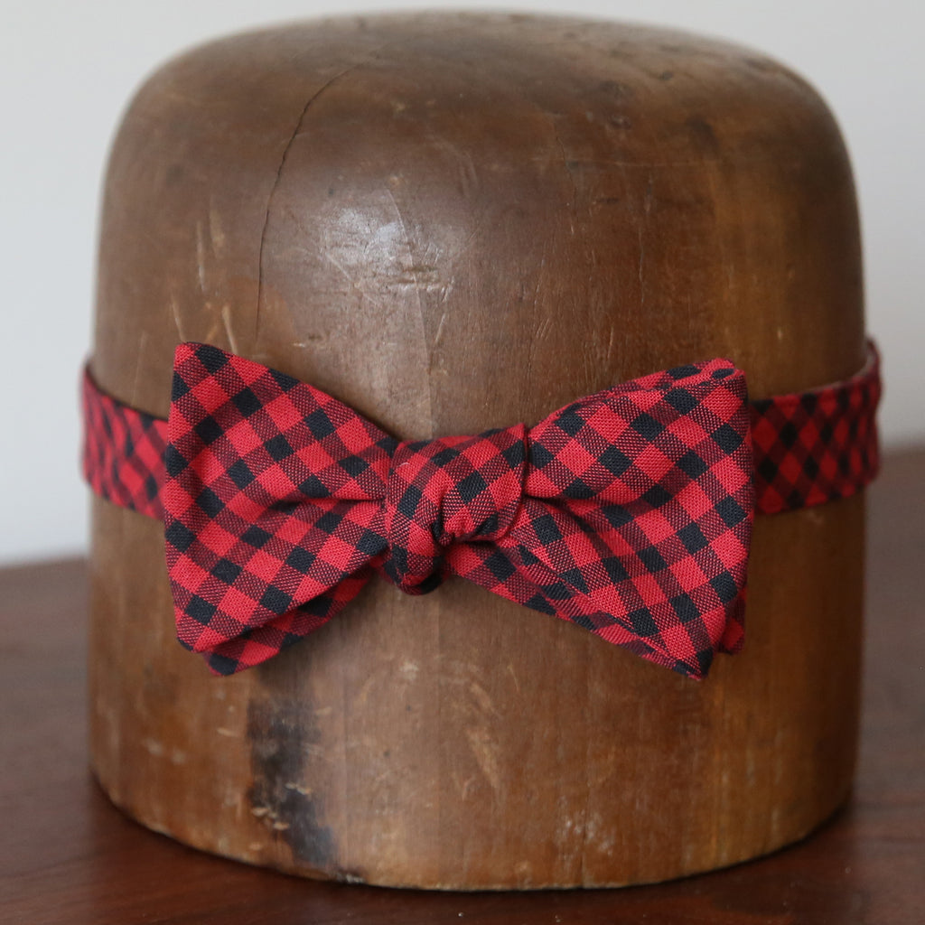 Bow Tie - Red + Black Buffalo Check