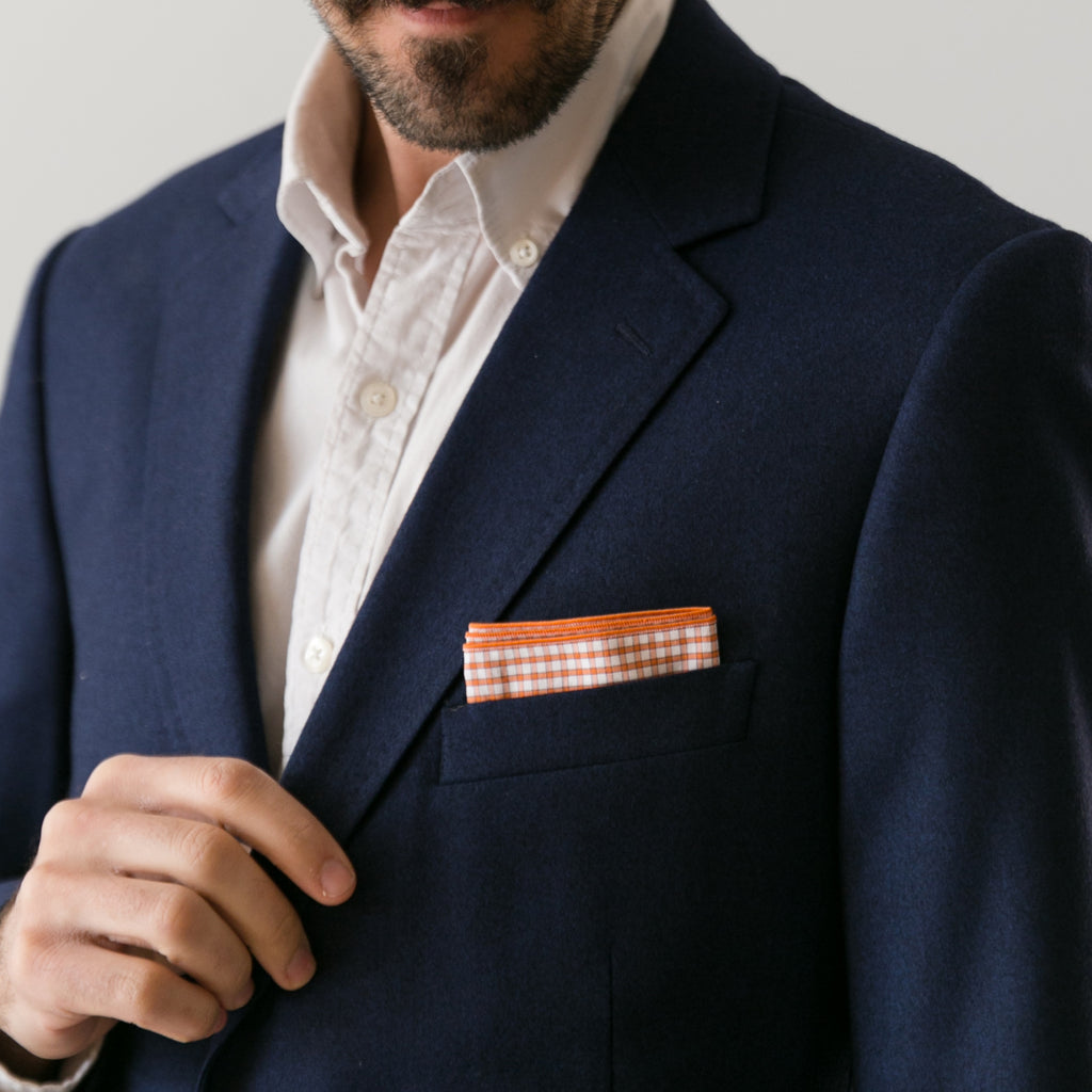 Pocket Square - Orange Gingham
