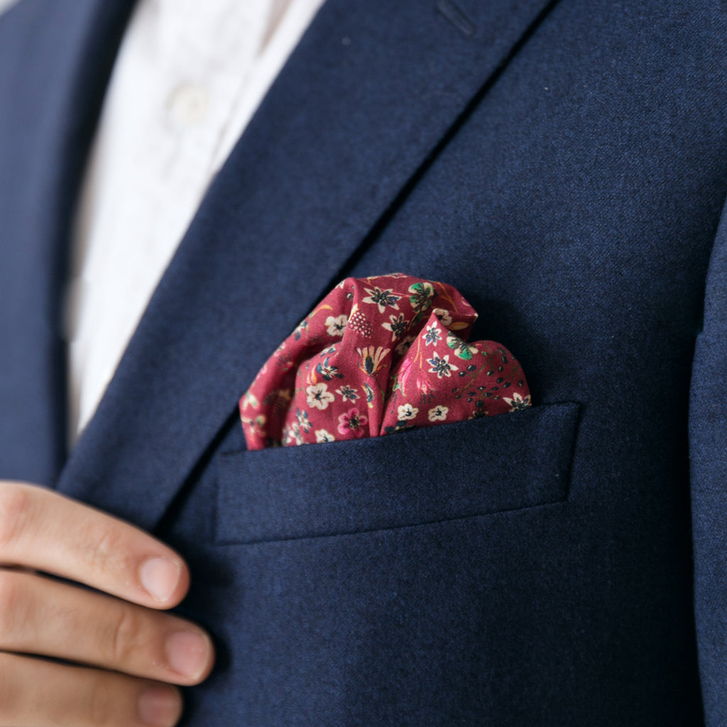 Pocket Square - Sangria Floral