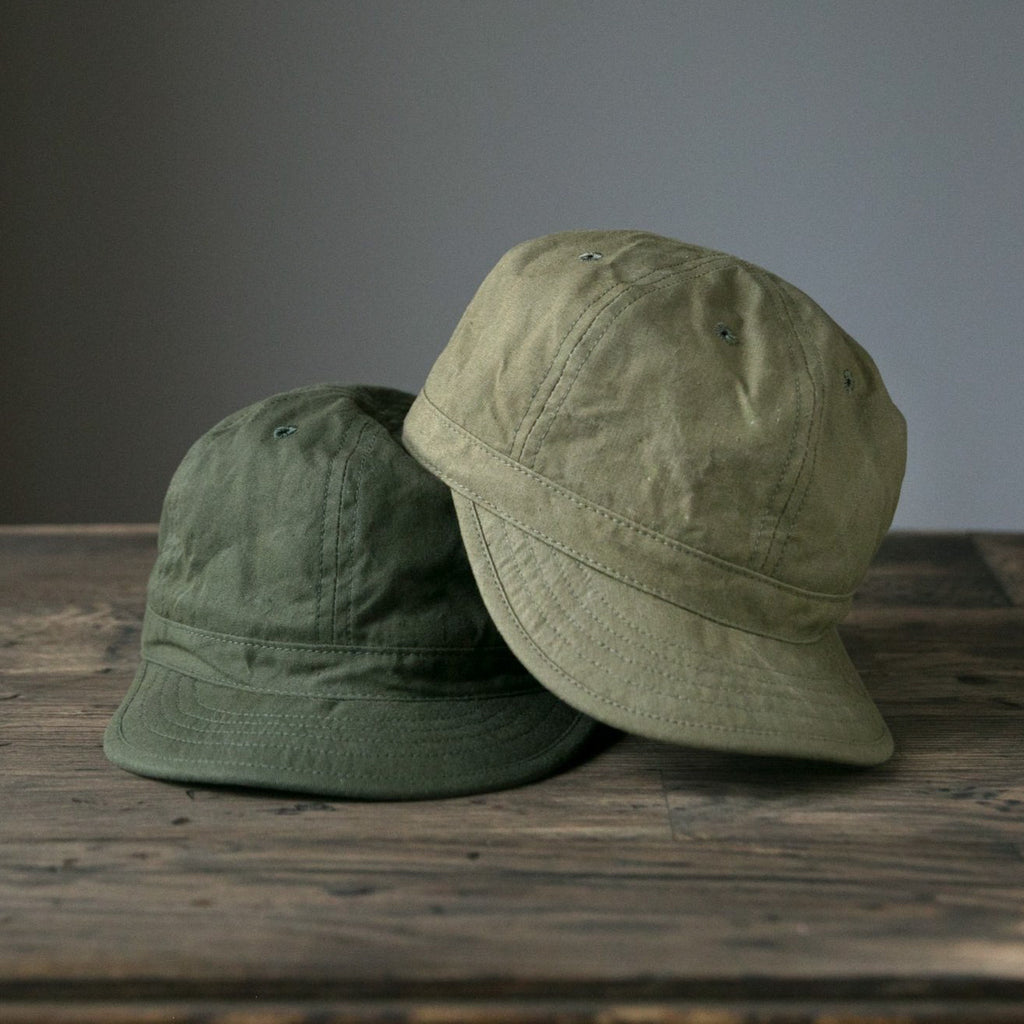 Handmade canvas Field Caps made from vintage US Army shelter half tents