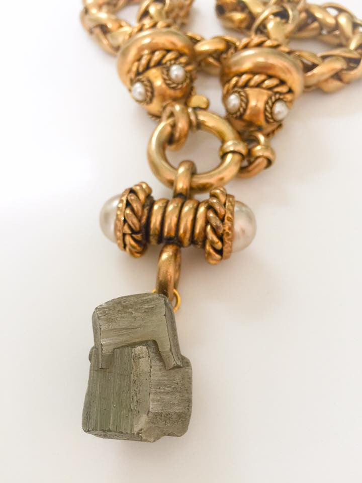 Pyrite and Pearl Rope