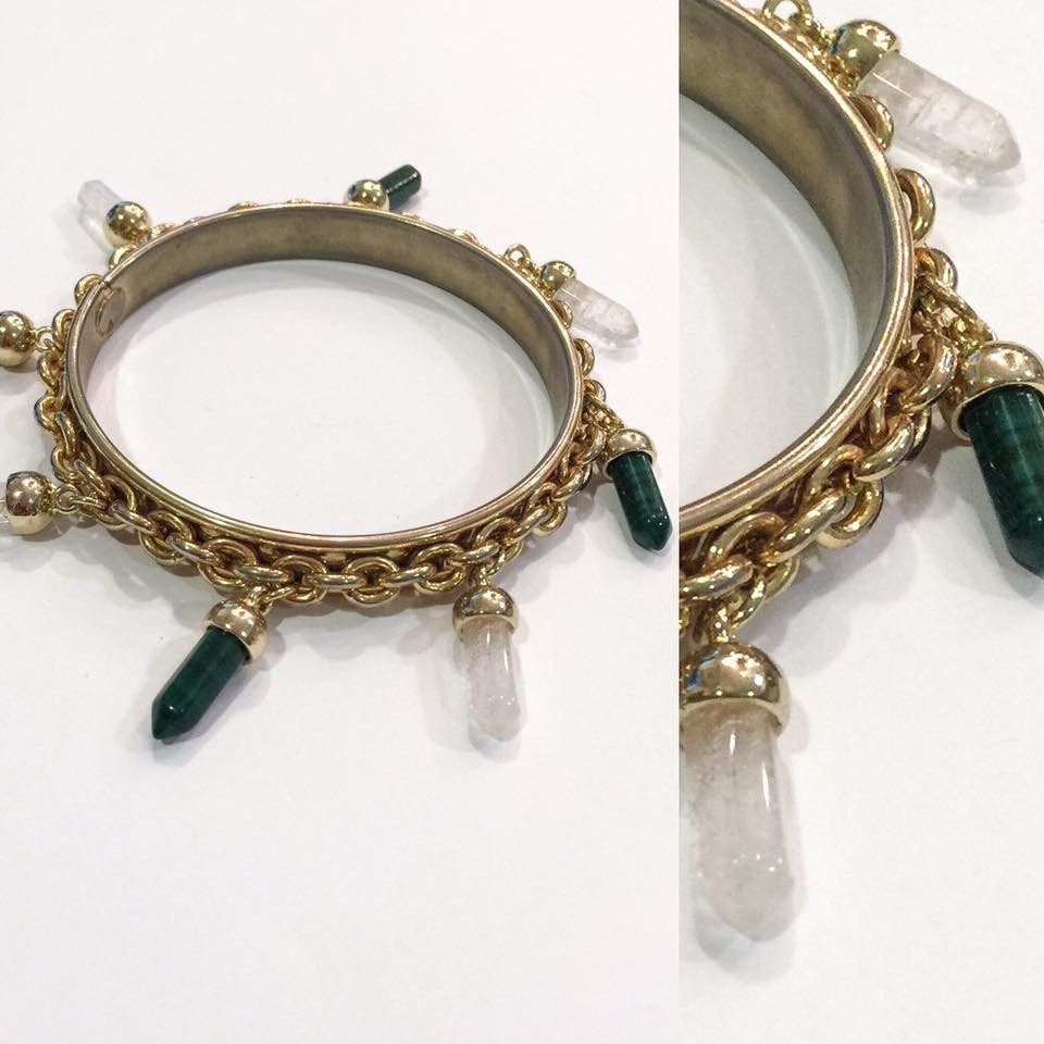 Malachite and Crystal Charms