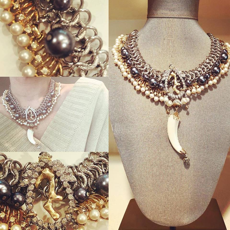 7 Row Pearl and Tusk Collar