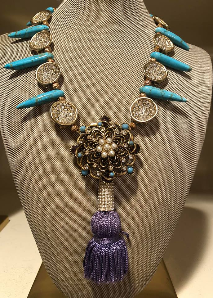 Lavender French Silk Tassel with Turquoise Spears