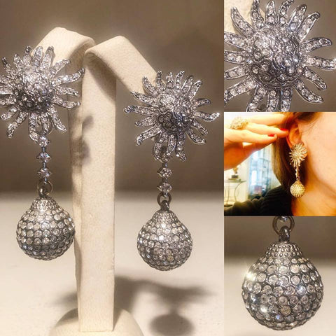 Patinated Orb and Rhinestone