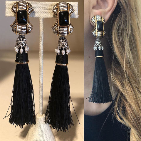 Teardrop and Leather Tassels