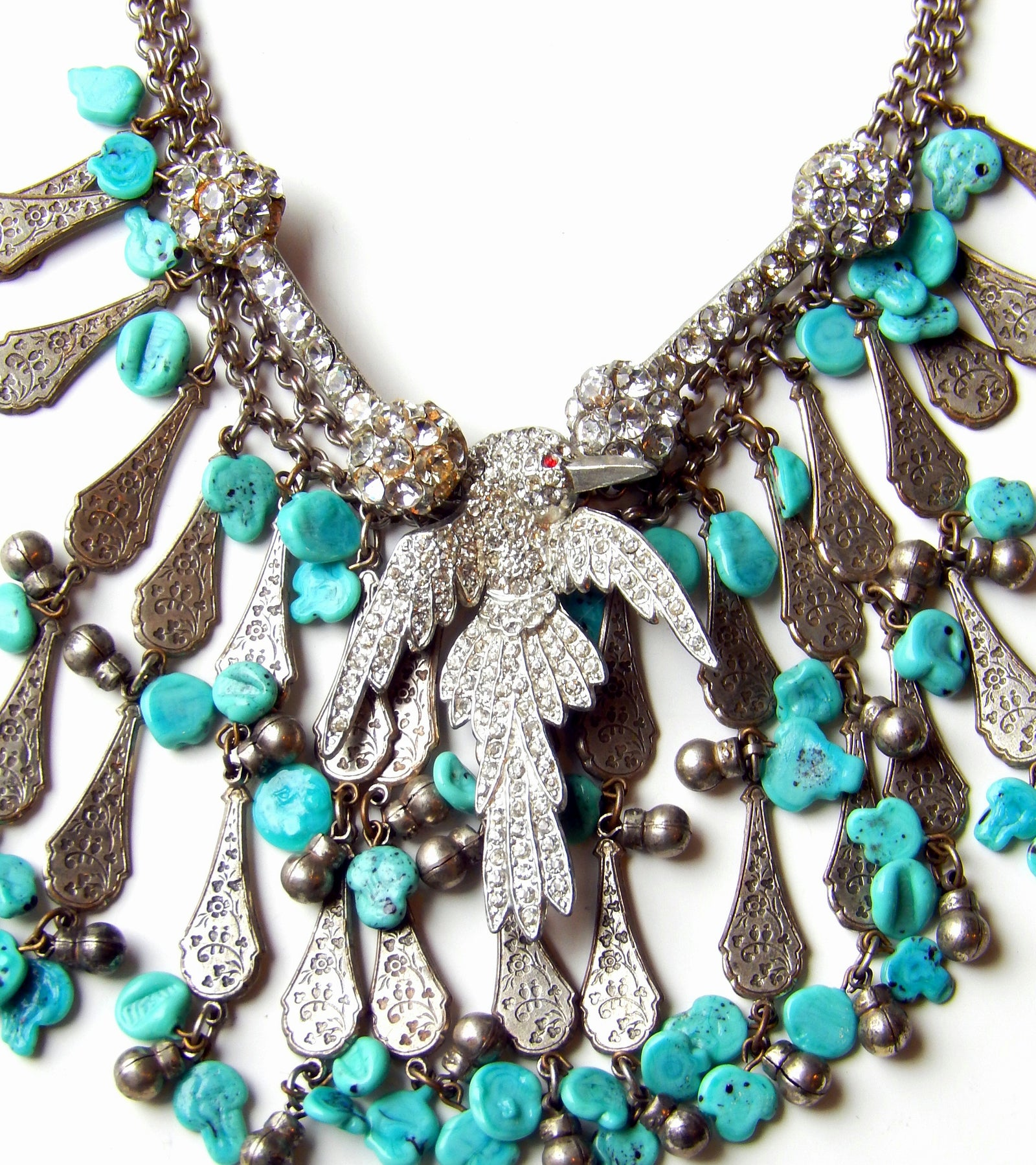 Art Deco Bird and Turquoise Bib