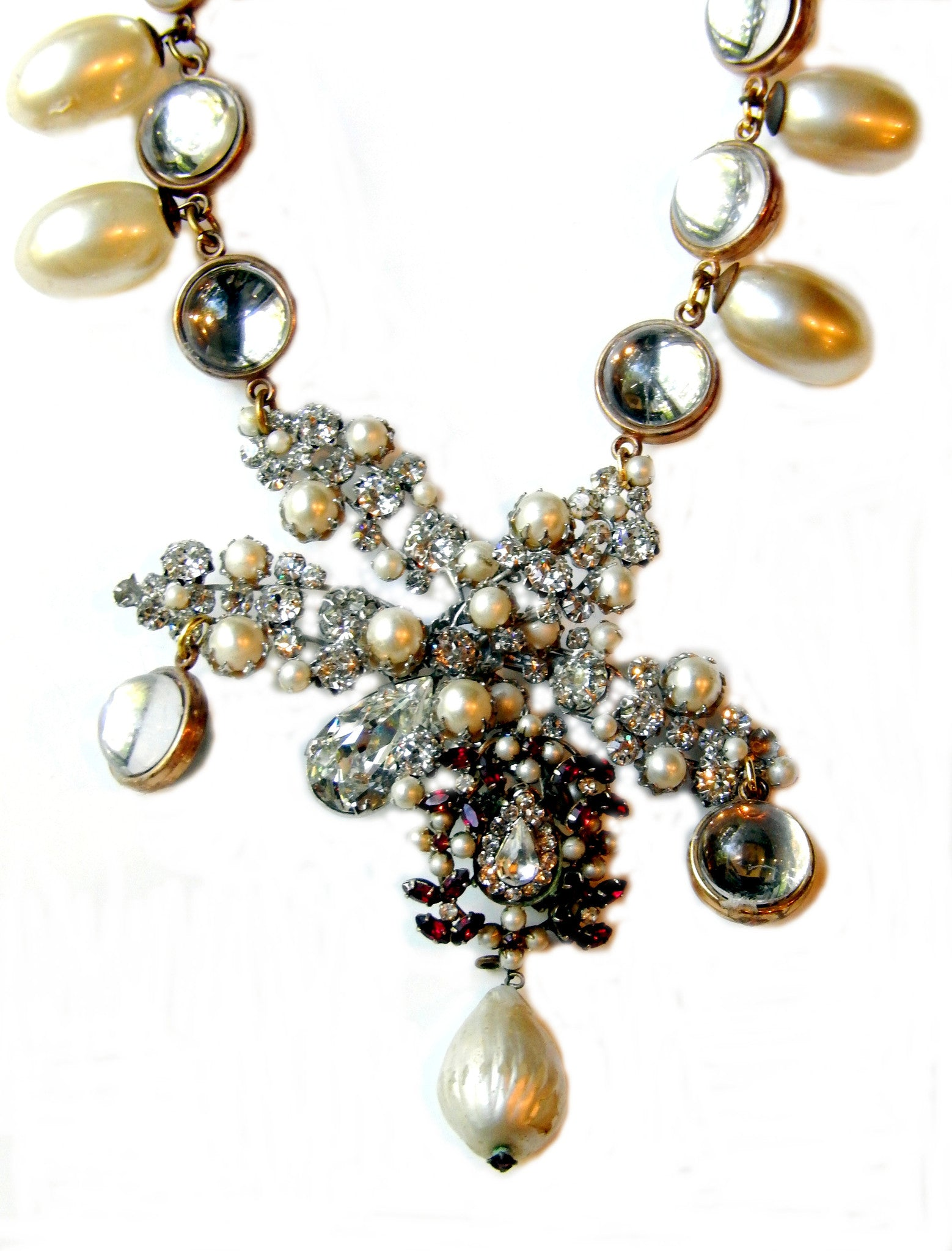 Lucite with Pearl and Rhinestone Fronds