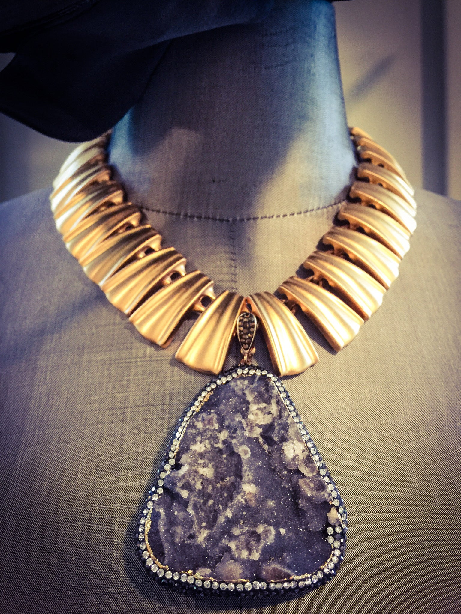 Fluted Fan with Druzy