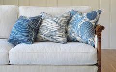 Beachwalk - Riding the Wave Pillow - Dark Atlantic Blue<br/> 100% Acrylic Indoor/Outdoor<br/>(Shown on Left)