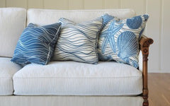 Beachwalk - Coming Out of Her Shell Pillow - Atlantic Blue<br/> 100% Acrylic Indoor/Outdoor<br/>(Shown on Right)