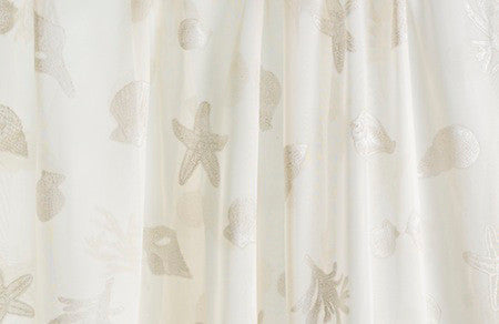 Nantucket Breeze Sand Voile with White Shells<br/>(Price per Yard)