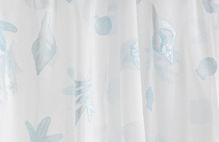 Nantucket Breeze Voile with Blue Seashells