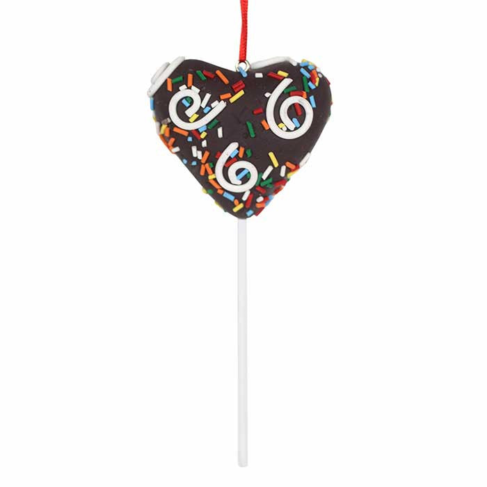Sprinkled Chocolate Heart Cake Pop Ornament