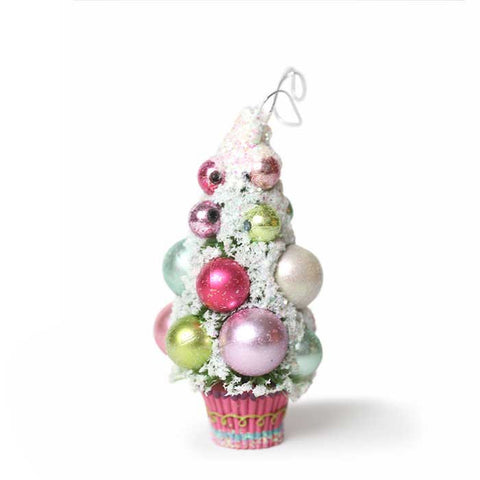 Frosted Gumball Pink Cupcake Tree Ornament