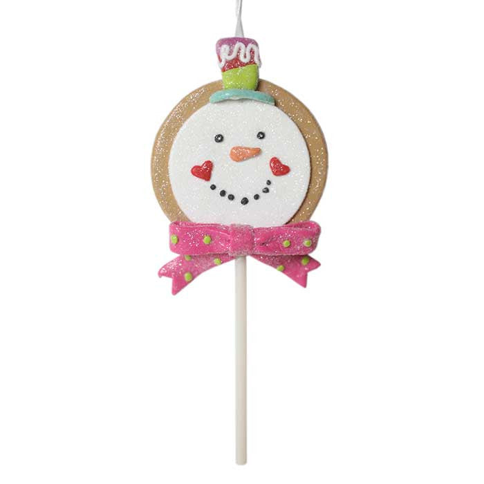 Frosty the Snowman Gingerbread Lollipop Ornament