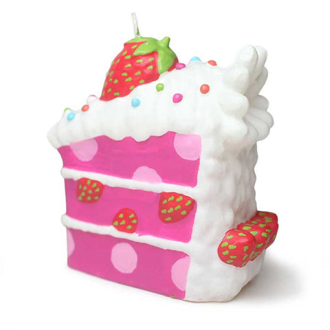 Polka Dot Pink Strawberry Cake Slice Candle