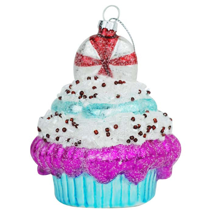 Super Sweet Cupcake Ornament - Blue