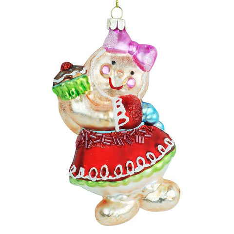 Gingerbread Girl Glass Ornament