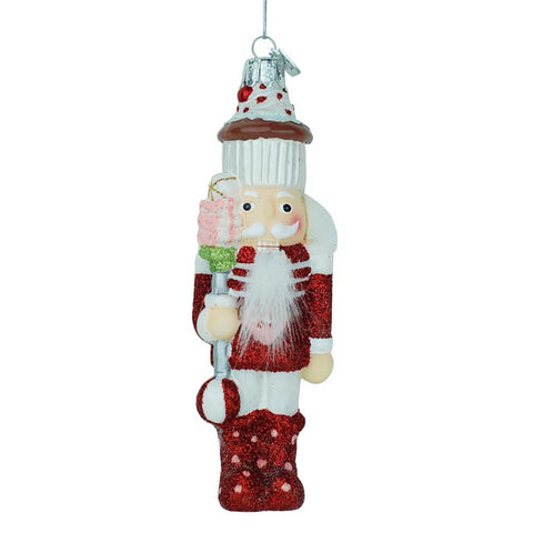 Nutcracker Cupcake Glass Ornament