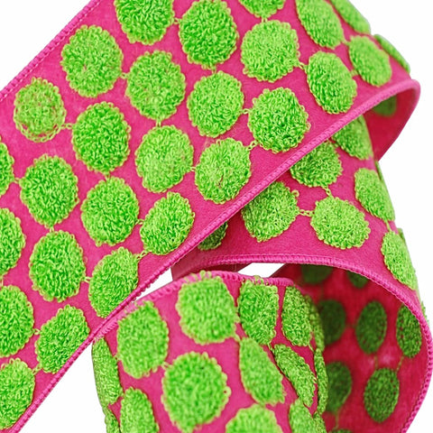 "Candy Dots Ribbon 4"" Pink & Green"