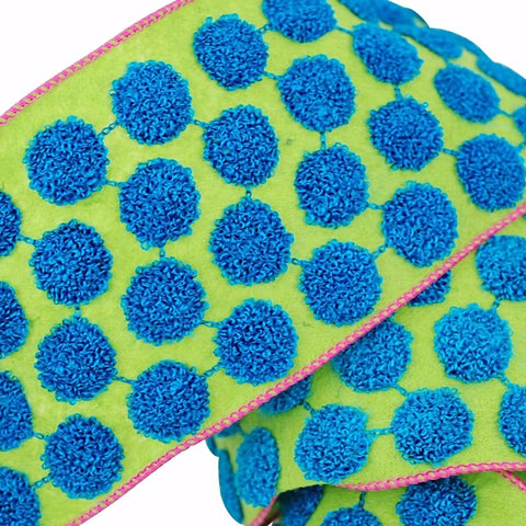 "Candy Dots Ribbon 4"" Peacock Blue & Green"
