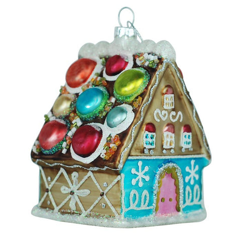 Gingerbread House with a Macaron Roof Glass Ornament