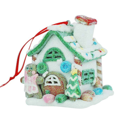 Miss Gingerbread Pink House Candy Ornament