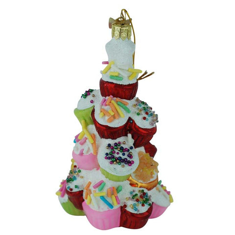 Cupcake Tree Glass Ornament