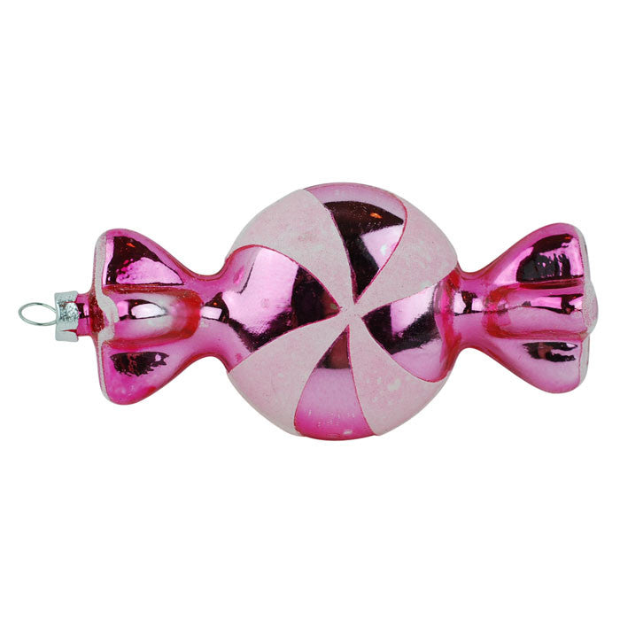 Pink Wrapped Candy Glass Ornament