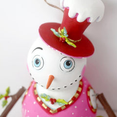 Holly Jolly Snowman Ornament - Glitterville