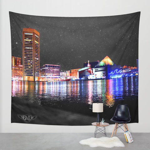 Baltimore at Night Tapestry