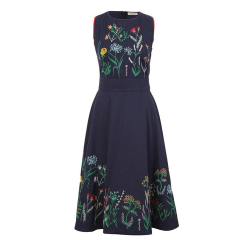 IVKO Floral embroidery dress - navy