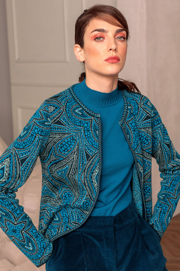 IVKO Cardigan Geometric Pattern -  Blue