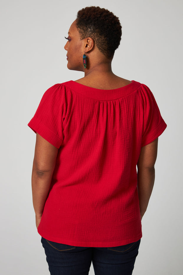 Easy Breezy Blouse - Red