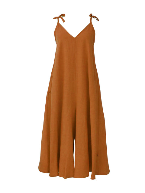 Jumpsuit - Orange - Linen Blend