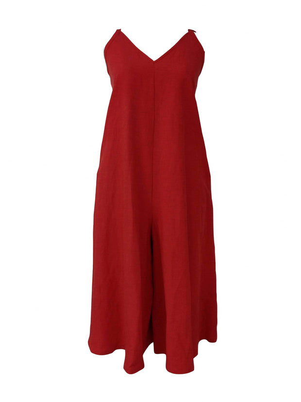 Jumpsuit - Red - Linen Blend