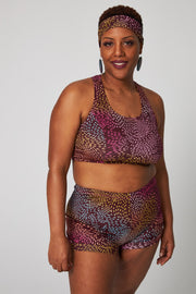 Sports Bra - Brushstrokes Burgundy