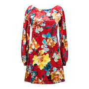 Robe Velours - Rouge Florale