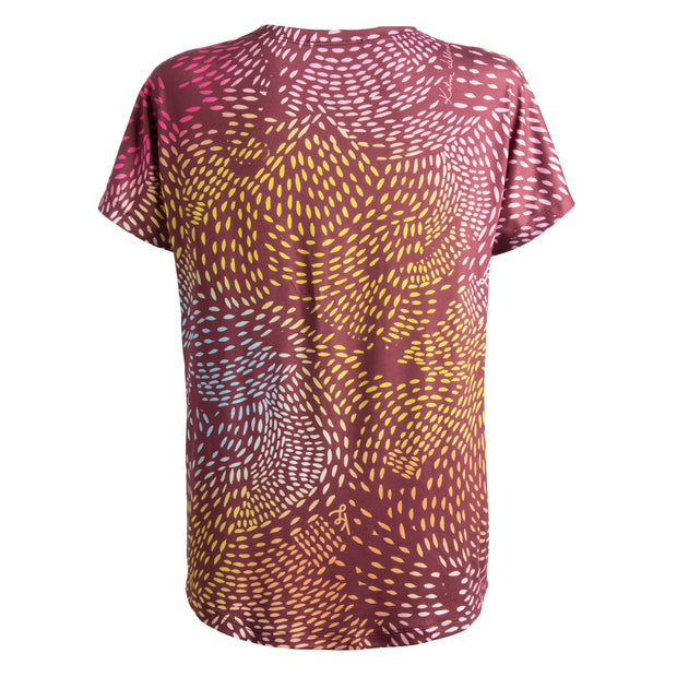 Loose Fit T-Shirt - Brushstrokes Burgundy