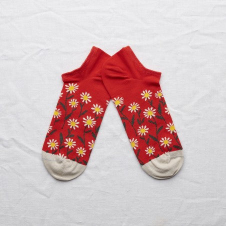 Socquettes Marguerite Sanguine // Ankle Socks Blood Orange Daisy