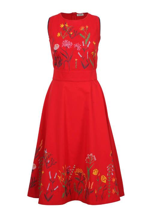 IVKO Dress Floral embroidery - red