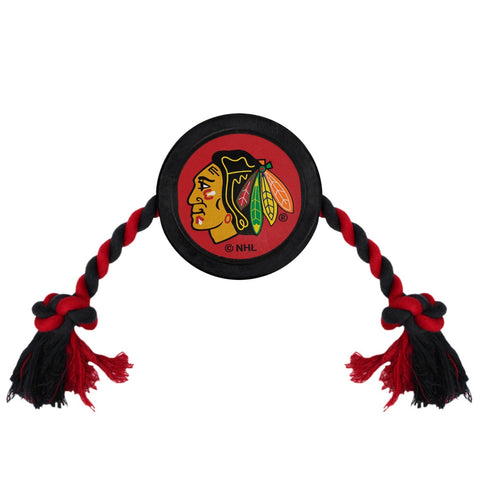 Chicago Blackhawks Pet Hockey Puck Rope Toy